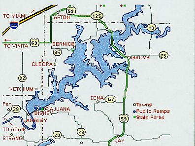 Grove Oklahoma Map.Grand Lake Fishing Guide Area Information